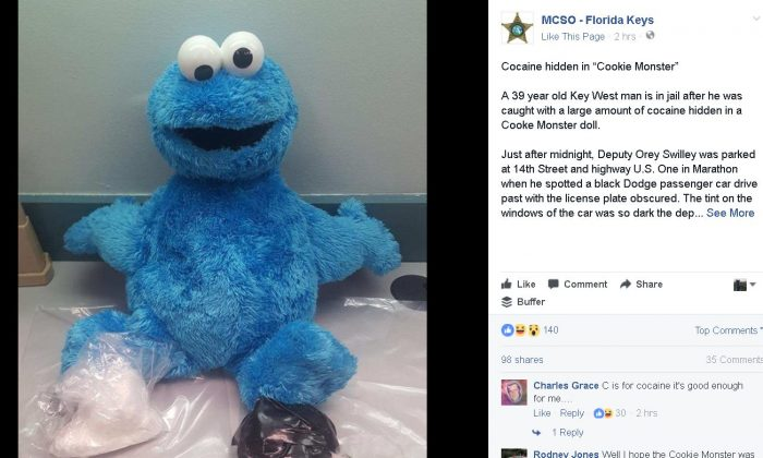The Cookie Monster doll in question (Screenshot/Monroe County Sheriff's Office)