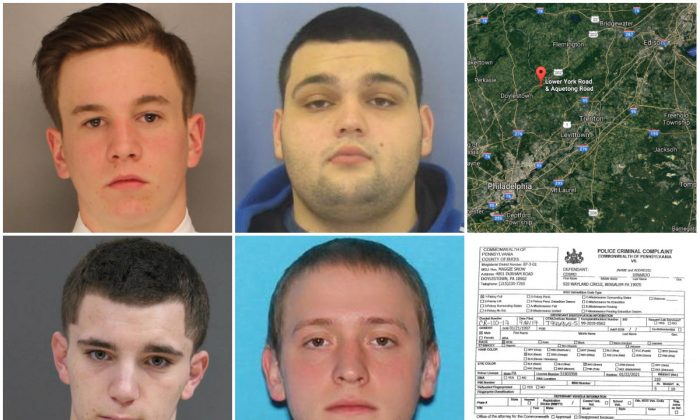 The four missing men (Top L, clockwise) Jimi Patrick, Mark Sturgis, Thomas Meo, and Dean Finocchiaro. (Bucks County District Attorney's Office); Top R: Approximate location of a common grave where Finocchiaro's remains have been found. (Google Maps); Bottom R: Criminal complaints against Cosmo Dinardo for stealing and trying to sell Meo's car.  (Bucks County District Attorney's Office)