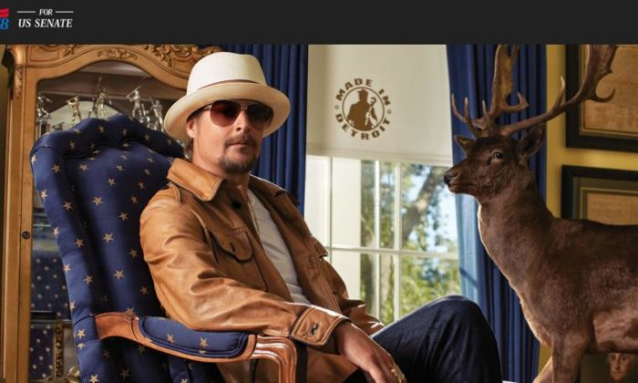 A screenshot shows Kid Rock's KidRockForSenate.com (KidRockForSenate.com screenshot)