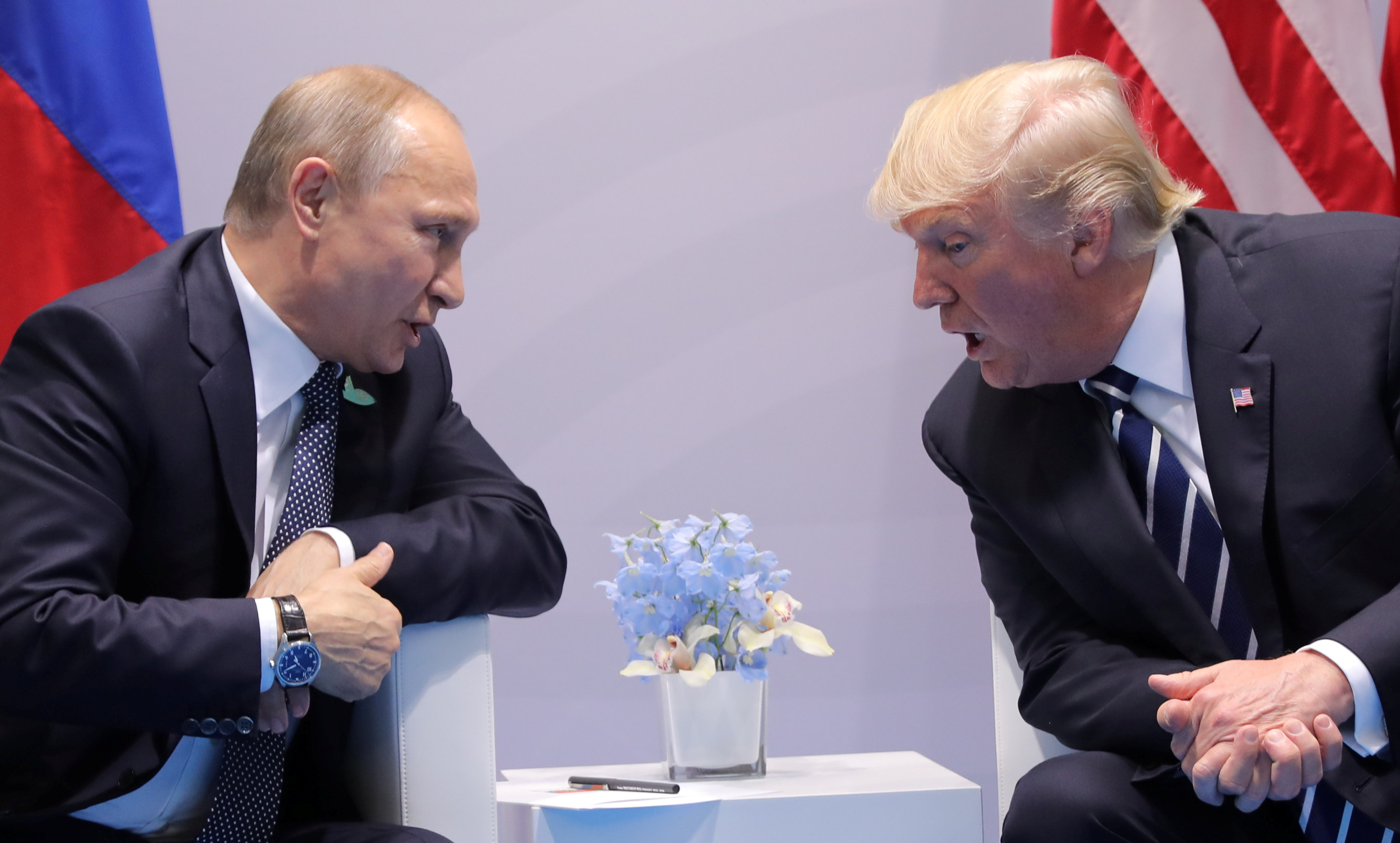 President Donald Trump speaks with Russian President Vladimir Putin during the their bilateral meeting at the G20 summit in Hamburg, Germany on July 7, 2017. (REUTERS/Carlos Barria)