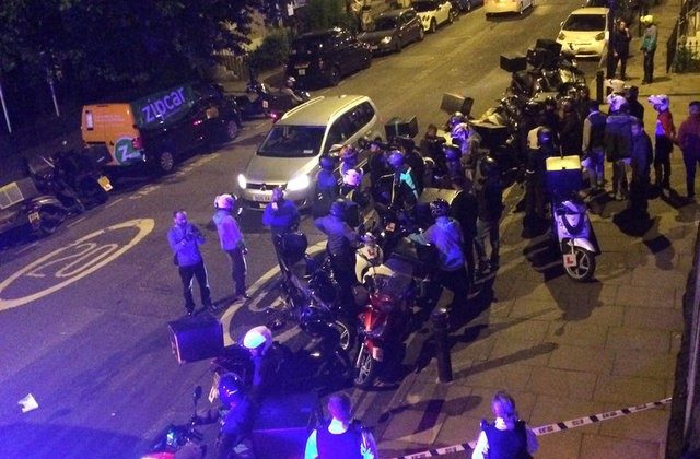 Emergency response following acid attack on the junction of Hackney Road junction with Queensbridge Road, London on Britain July 13, 2017 in seen in this picture obtained from social media. (SARAH COBBOLD via REUTERS)