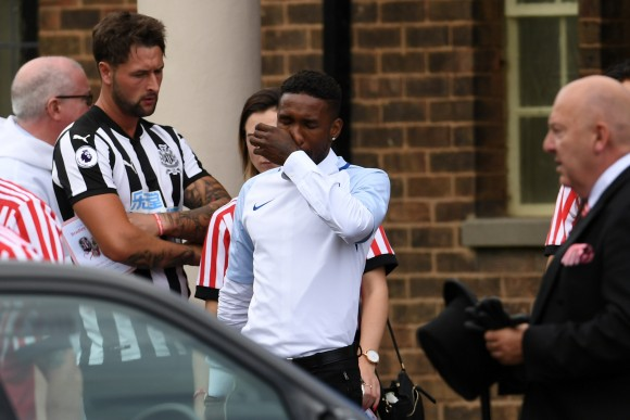 Footballer Jermain Defoe attends the funeral of six year old Sunderland FC, fan, Bradley Lowery at St Joseph's Church on July 14, 2017 in Hartlepool, England. (Photo by Jeff J Mitchell/Getty Images)