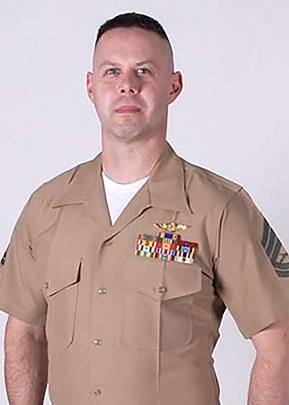Gunnery Sergeant  Brendan C. Johnson of VMGR-452 in Orange County, New York. (Photo via U.S. Marine Corps Forces Reserve)