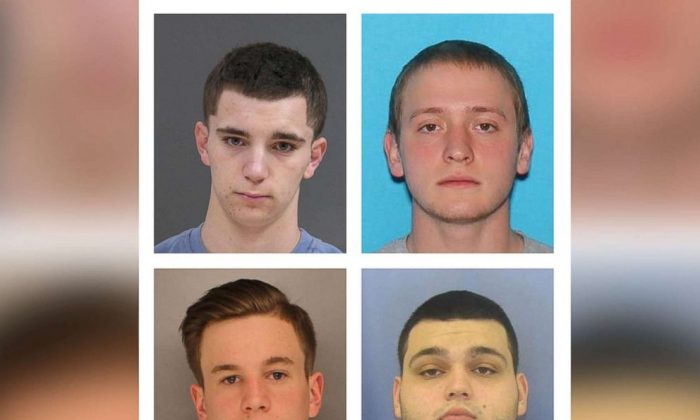 Bucks County District Attorney's Office photos show L-R, top row: Dean Finocchiaro, 18, and Tom Meo, 21, L-R bottom row: Jimi Patrick, 19, and Mark Sturgis, 22 as authorities say they are searching for the four missing men in Bucks County, about 40 miles north of Philadelphia, Pennsylvania, U.S. on July 11, 2017. (Courtesy Bucks County District Attorney's Office/Handout via REUTERS)