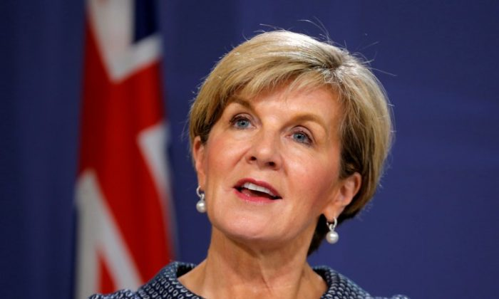 Australian Foreign Minister Julie Bishop speaks at a press conference in Sydney, Australia, May 4, 2017. (Reuters/Jason Reed)