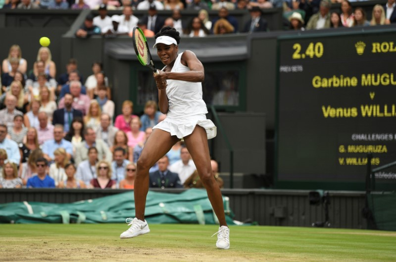 Tennis - Wimbledon - London, Britain - July 15, 2017   Venus Williams of the U.S. in action during the final against Spain's Garbine Muguruza    REUTERS/David Ramos/Pool