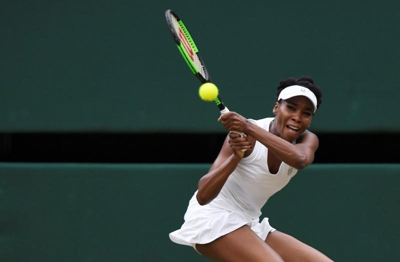 Tennis - Wimbledon - London, Britain - July 15, 2017   Venus Williams of the U.S. in action during the final against Spain's Garbine Muguruza    REUTERS/Tony O'Brien