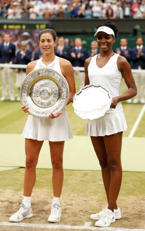 Spain's Garbine Muguruza and Venus Williams of the U.S. pose with their respective winner and runner up trophies after the final on July 15, 2017. (REUTERS/Matthew Childs