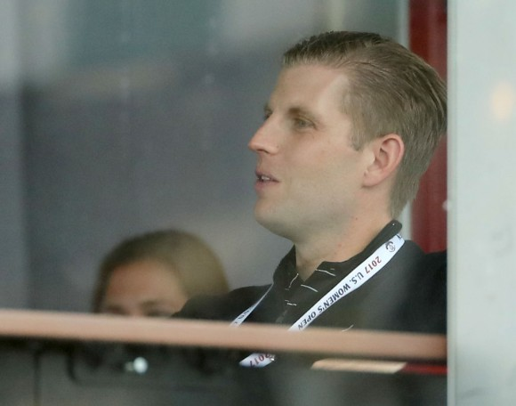 Eric Trump watches during the U.S. Women's Open round two on July 14, 2017 at Trump National Golf Course in Bedminster, New Jersey.  (Photo by Elsa/Getty Images)