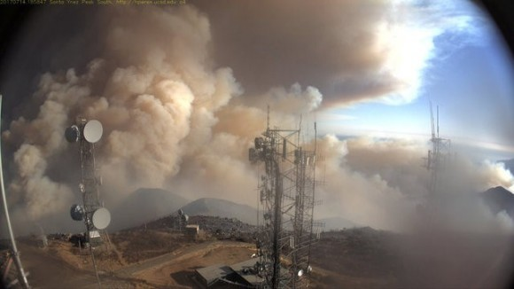 A remote camera atop a Santa Ynez Peak shows Whittier Fire activity near Santa Barbara, California, U.S. in this July 15, 2017. Picture taken July 14, 2017.   Santa Barbara County/Handout via REUTERS