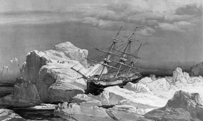 The HMS Investigator - sent dispatched on the search for the doomed Franklin Expedition - is stranded in ice on the north coast of Baring Island in the Arctic in a 1851 drawing. Prime Minister Stephen Harper says one of the two lost ships from Sir John Franklin's doomed Arctic expedition has been found. THE CANADIAN PRESS/HO, National Archives of Canada