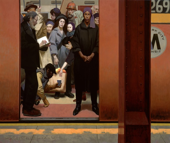 """Underground Together,"" 1996, by Harvey Dinnerstein. Oil on canvas, 90 inches by 107 1/4 inches.  (Courtesy of Harvey Dinnerstein)"