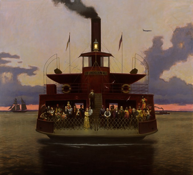 """""""Sundown, The Crossing,"""" 1999, by Harvey Dinnerstein. Oil on canvas, 74 inches by 84 inches. (Courtesy of Harvey Dinnerstein)"""