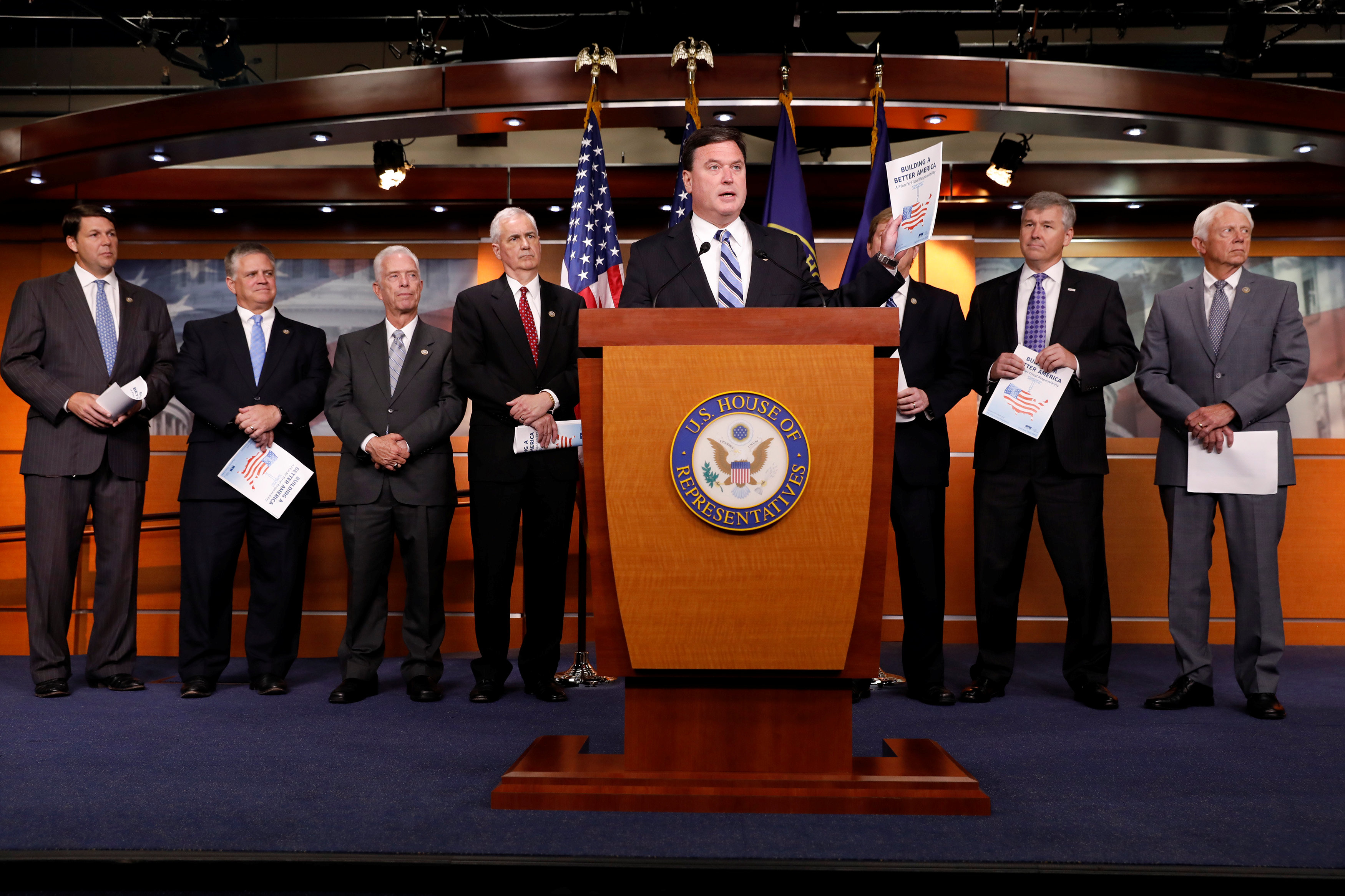 Rep. Todd Rokita (R-IN) announces the 2018 budget blueprint during a press conference on Capitol Hill in Washington on July 18, 2017. (REUTERS/Aaron P. Bernstein)