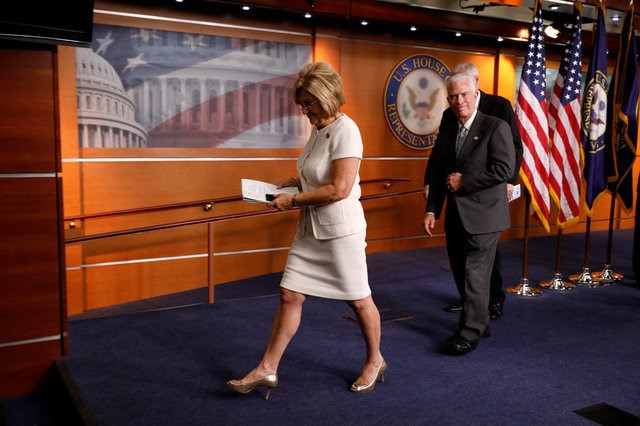 Rep. Diane Black (R-TN) departs after announcing the 2018 budget blueprint during a press conference on Capitol Hill in Washington on July 18, 2017. (REUTERS/Aaron P. Bernstein)