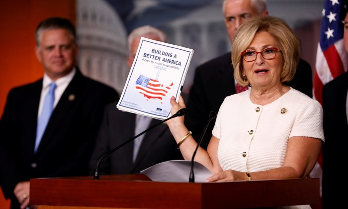 Rep. Diane Black (R-TN) announces the 2018 budget blueprint during a press conference on Capitol Hill in Washington on July 18, 2017. (REUTERS/Aaron P. Bernstein)