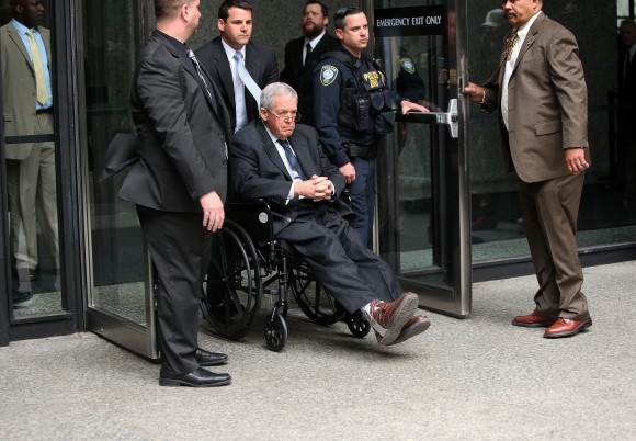Former House Speaker Dennis Hastert leaves the Dirksen Federal Court House in a wheelchair after his sentencing on April 27, 2016 in Chicago, Illinois.  (Photo by Joshua Lott/Getty Images)