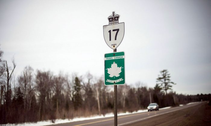 The Trans-Canada Highway just south of Wawa, Ont., on April 3, 2017. (The Canadian Press/Nathan Denette)