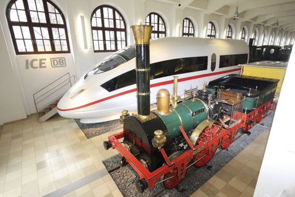 Trains on display at the German Railway Museum. (Congress & Tourismus Zentrale Nürnberg/ Uli Kowatsch)