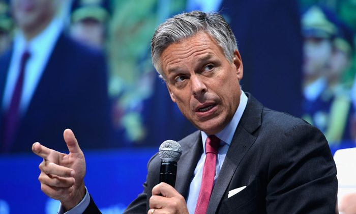 Jon Huntsman speaks on stage during the 2015 Concordia Summit at Grand Hyatt New York on October 2, 2015 in New York City.  (Photo by Leigh Vogel/Getty Images for Concordia Summit)