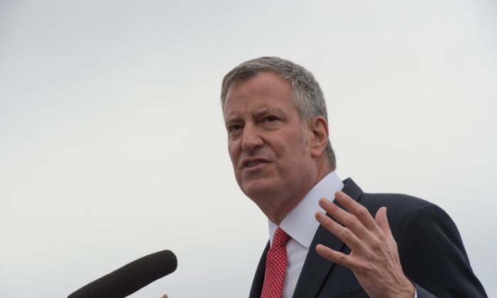 New York Mayor Bill de Blasio speaks after riding the NYC Ferry boat named Lunch Box, April 17, 2017 in New York. (BRYAN R. SMITH/AFP/Getty Images)