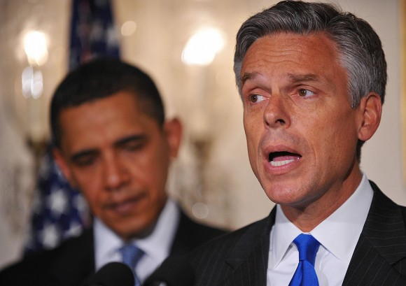 Utah Governor Jon Huntsman speaks as US President Barack Obama looks on in the Diplomatic Reception Room of the White House May 16, 2009 in Washington, DC. Obama nominated Huntsman as the next US ambassador to China. (MANDEL NGAN/AFP/Getty Images)