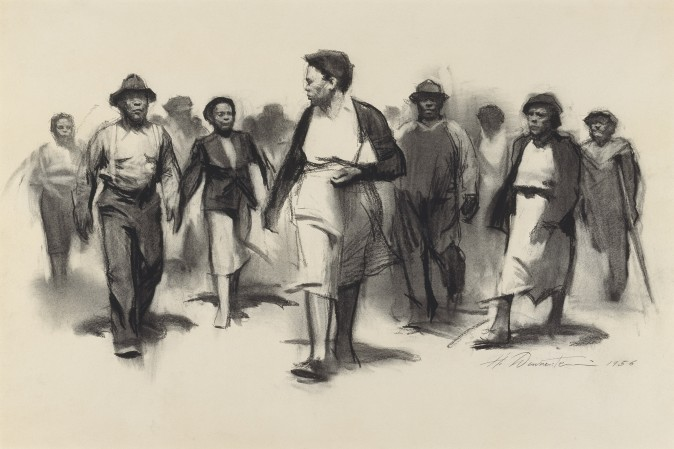 """Walking Together, Montgomery,"" 1956, by Harvey Dinnerstein. Charcoal on paper, 17 1/4 inches by 25 7/8 inches. (Courtesy of Harvey Dinnerstein)"