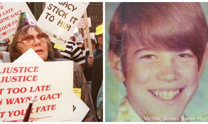 (L) Demonstrators supporting the scheduled execution of serial killer John Wayne Gacy, May 9, 1994 in Chicago. (Eugene Garcia/AFP/Getty Images) (R) Gacy's victim #24, James Byron Haakenson. (Courtesy of Cook County Sheriff's office)