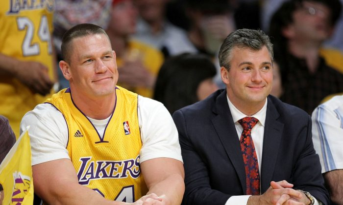 John Cena (L) and Shane McMahon (R) attend Game Two of the Western Conference Finals during the 2009 NBA Playoffs between the Los Angeles Lakers and the Denver Nuggets at Staples Center on May 21, 2009 in Los Angeles, California.  (Photo by Noel Vasquez/Getty Images)
