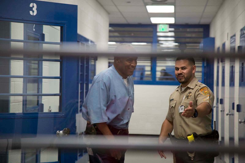 O.J. Simpson (L) arrives for his parole hearing in at Lovelock Correctional Centre in Lovelock, Nevada, on July 20, 2017. (Sholeh Moll/Nevada Department of Transportation/Handout via REUTERS)