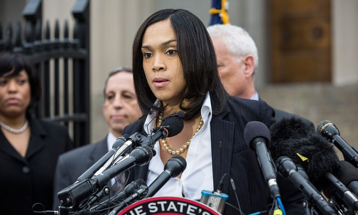 Baltimore City State's Attorney Marilyn J. Mosby announces that criminal charges will be filed against Baltimore police officers in the death of Freddie Gray on May 1, 2015 in Baltimore, Maryland.  (Photo by Andrew Burton/Getty Images)