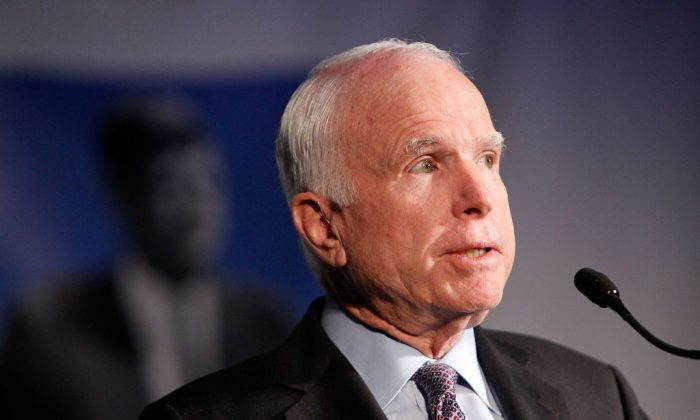 Sen. John McCain (R-AZ) on May 2, 2017 in Washington, DC.  (Morigi/Getty Images for WS Productions)