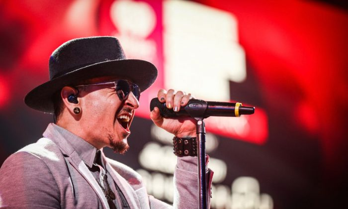 Chester Bennington of Linkin Park performs on stage at the iHeartRadio Album Release Party presented by State Farm at the iHeartRadio Theater Los Angeles in Burbank, Calif., on May 22, 2017.  (Rich Fury/Getty Images for iHeartMedia)