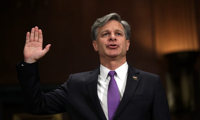 FBI director nominee Christopher Wray is sworn in during his confirmation hearing before the Senate Judiciary Committee July 12, 2017 on Capitol Hill in Washington, DC. (Alex Wong/Getty Images)