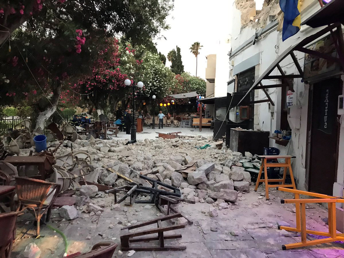 Damage caused by a quake in Kos, Greece, July 21, 2017 is seen in this still photograph uploaded on social media.  Osman Turanli/Social Media/Handout via Reuters
