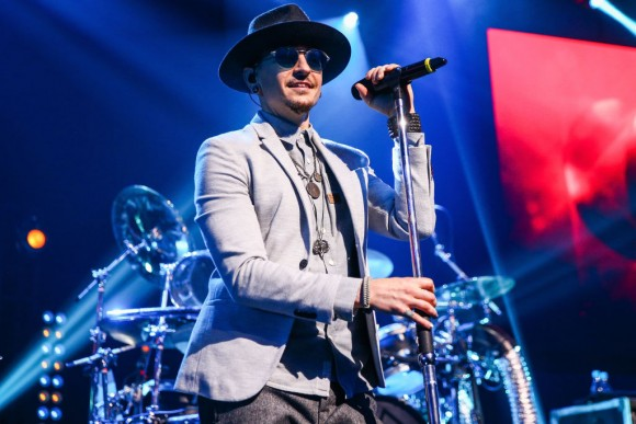 Chester Bennington of Linkin Park performs on stage at the iHeartRadio Album Release Party presented by State Farm at the iHeartRadio Theater Los Angeles on May 22, 2017 in Burbank, California. (Photo by Rich Fury/Getty Images for iHeartMedia)