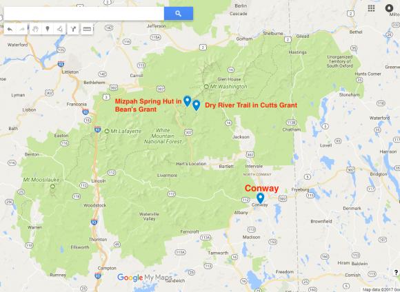 Map of  White Mountain National Forest (Screenshot via Google Maps)