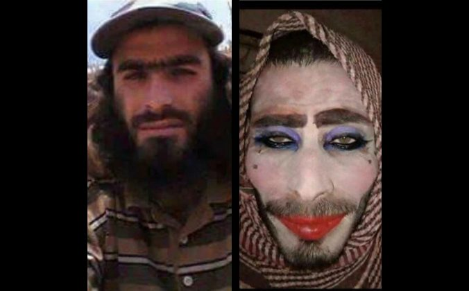 An ISIS terrorist before (left) and after (right) his elaborate attempts to disguise himself as a woman to escape Mosul. (Photo courtesy Iraqi army)