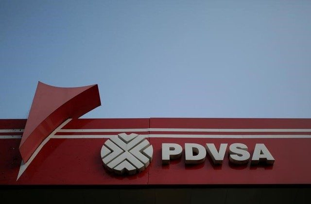 File photo: The corporate logo of the state oil company PDVSA is seen at a gas station in Caracas, Venezuela April 12, 2017. (Reuters/Marco Bello)