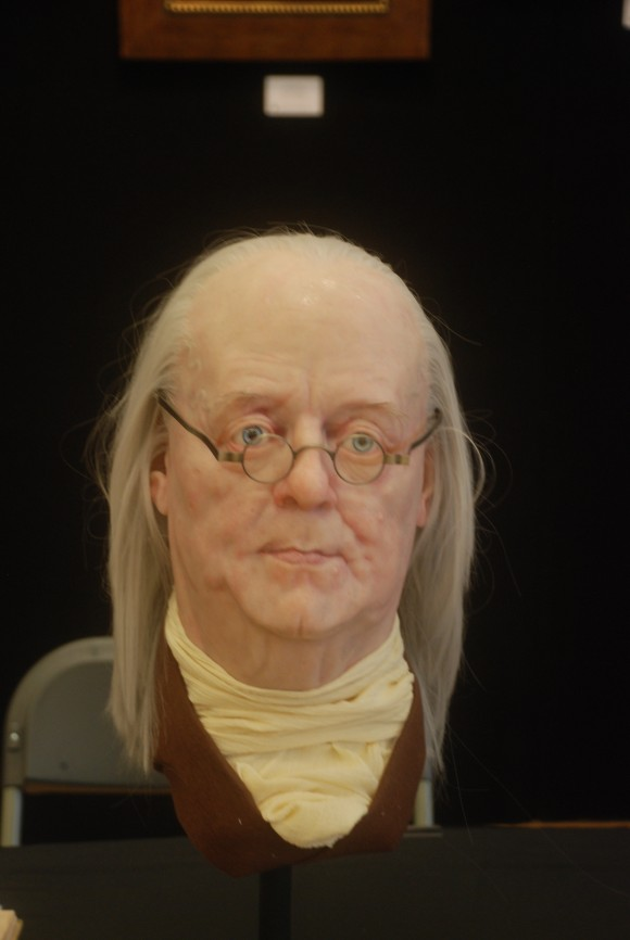 Sculptor and painter Daniel Horne created this realistic bust of Benjamin Franklin. (John Christopher Fine. Copyright 2017)