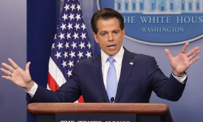 Anthony Scaramucci answers reporters' questions during the daily White House press briefing in the Brady Press Briefing Room at the White House in Washington on July 21, 2017. (Chip Somodevilla/Getty Images)