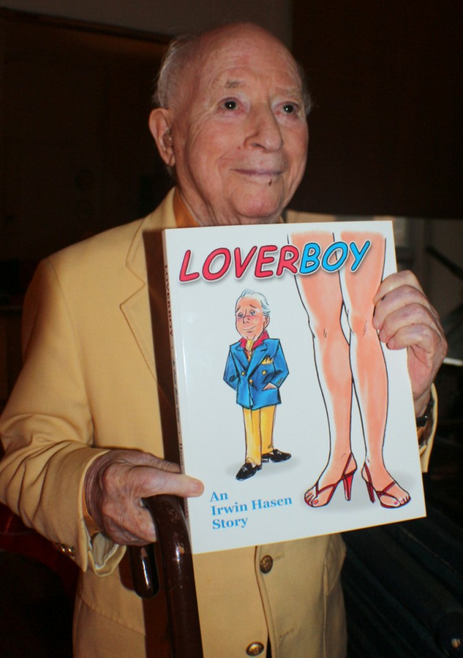 Irwin Hasen with his book 'Lover Boy.' In cartoon art and narrative the book describes his life and escapades. (Myriam Moran copyright 2014)