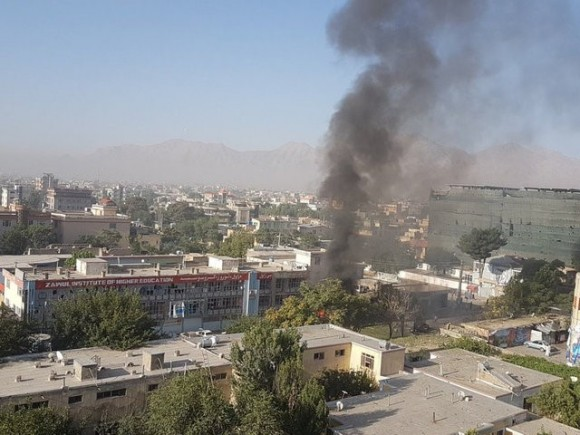 Smoke rises at Zawul Institute of Higher Education after an explosion near the institute in Kabul, Afghanistan July 24, 2017 in this still photograph uploaded on social media.  (Ahmad Shuja/Social Media/Handout via Reuters)
