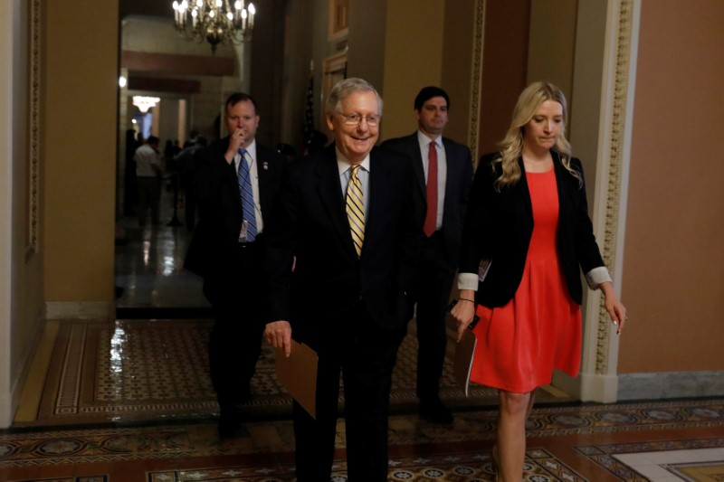Senate Majority Leader Mitch McConnell leaves his office ahead of today's vote on the health care bill on Capitol Hill in Washington on  July 25, 2017. (REUTERS/Aaron P. Bernstein)