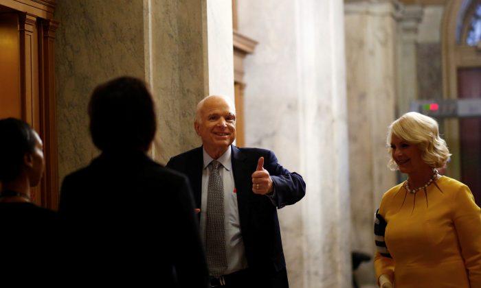 Sen. John McCain (R-AZ) arrives on Capitol Hill in Washington on July 25, 2017. (REUTERS/Eric Thayer)