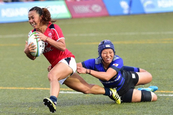 Hong Kong began the second half strongly, with winger Chong Ka Yan sneaking an opportunist try under the posts, making it 31-14. (Bill Cox/Epoch Times)