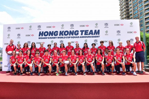Pieter Schats, Chairman (Back R); Robbie McRobbie, CEO Hong Kong Rugby (Back L); Kim Boreham, Director of Women's Rugby  (Back 2nd  L) together with the Hong Kong women's squad selected to compete in the Rugby World Championships in Ireland, starting August 9 in Dublin. The final ranking matches will be played in Belfast from August 22 to August 27.    (Bill Cox/Epoch Times)