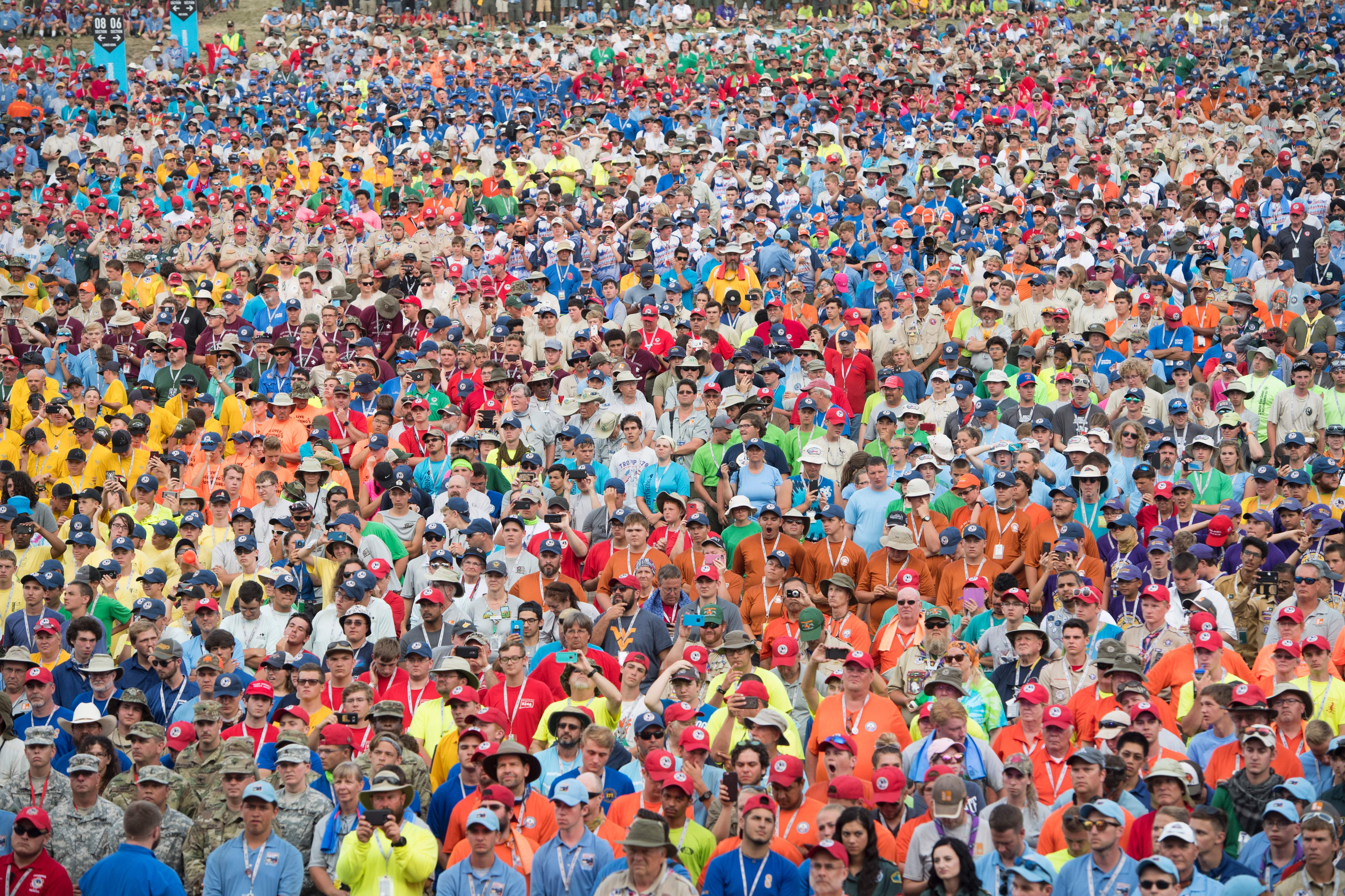 Boy Scouts listen as US President Donald Trump speaks during the National Boy Scout Jamboree at Summit Bechtel National Scout Reserve in Glen Jean, West Virginia, July 24, 2017.  (SAUL LOEB/AFP/Getty Images)