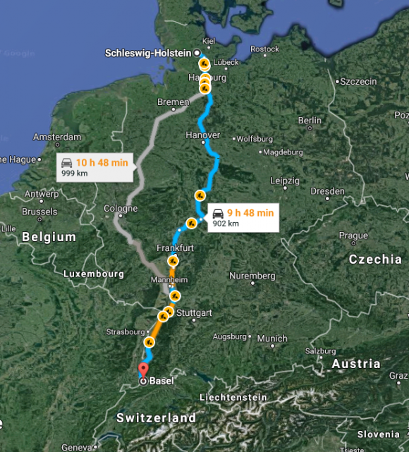 The travel distance and time from Schleswig to Basel. (Screenshot of Google Maps)