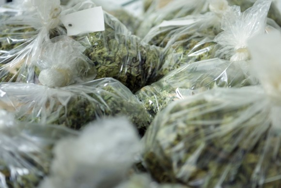 File photo of individual marijuana bags. (BRENDAN SMIALOWSKI/AFP/Getty Images)